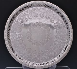 Top Quality Victorian Cooper Bros Epns Silver Plate Round Service Platter Tray photo