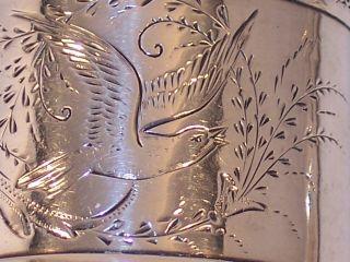 Antique Coin Sterling Silver Napkin Ring Bright Cut Dove Bird Name