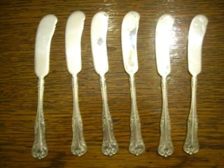 6 National Silverplate 1908 Queen Elizabeth Individual Butter Spreader Knives photo