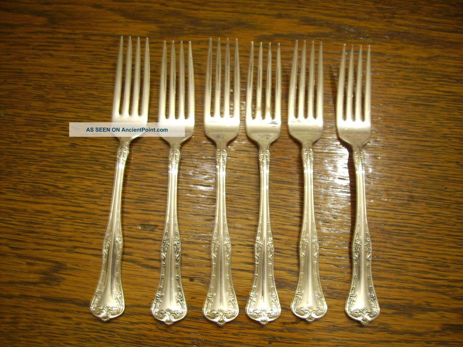 6 National Silverplate 1908 Queen Elizabeth Dinner Forks Rogers National photo