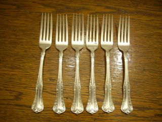 6 National Silverplate 1908 Queen Elizabeth Dinner Forks Rogers photo