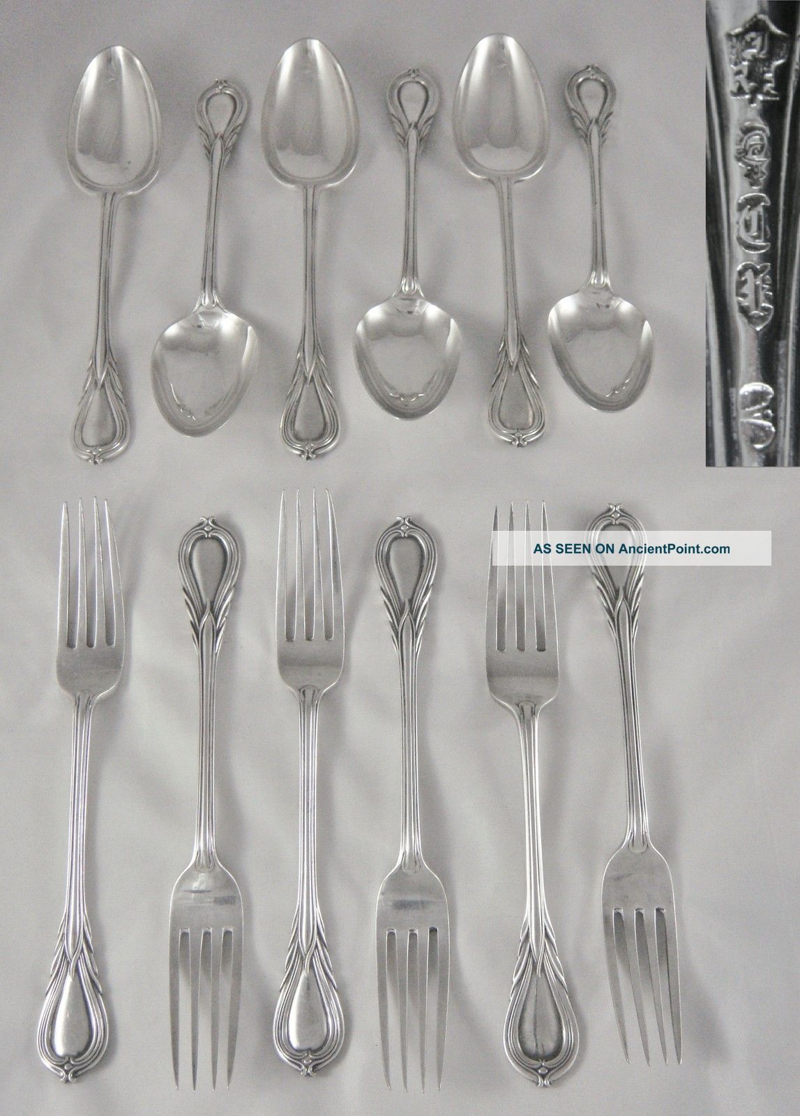 12 Fine Quality Antique 19th C Heavy Silver P Lily Pattern Dessert Spoons Forks Other photo