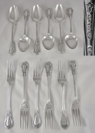 12 Fine Quality Antique 19th C Heavy Silver P Lily Pattern Dessert Spoons Forks photo