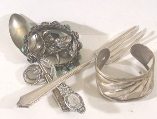 Sterling Silver Good And Scrap 241.  7 Gram Mixed Lot Dinnerware Jewlery photo