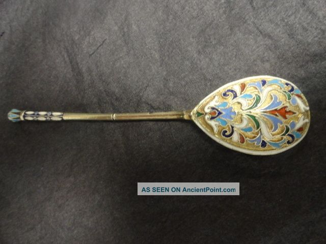 2antique Russian Silver 84 Cloisonne Enamel Spoon Length Is 5