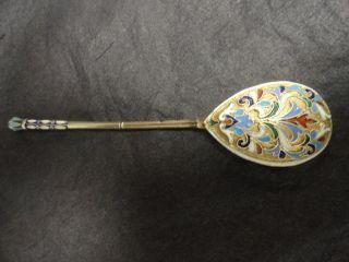 2antique Russian Silver 84 Cloisonne Enamel Spoon Length Is 5