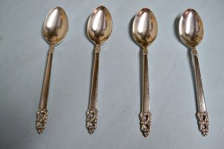 4 King Frederik Teaspoons - Elegant/well Made 1969 Rogers - Clean & Table Ready photo