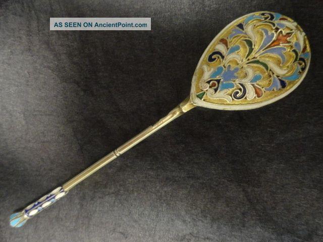 4 Antique Russian Silver 84 Cloisonne Enamel Spoon Length Is 5