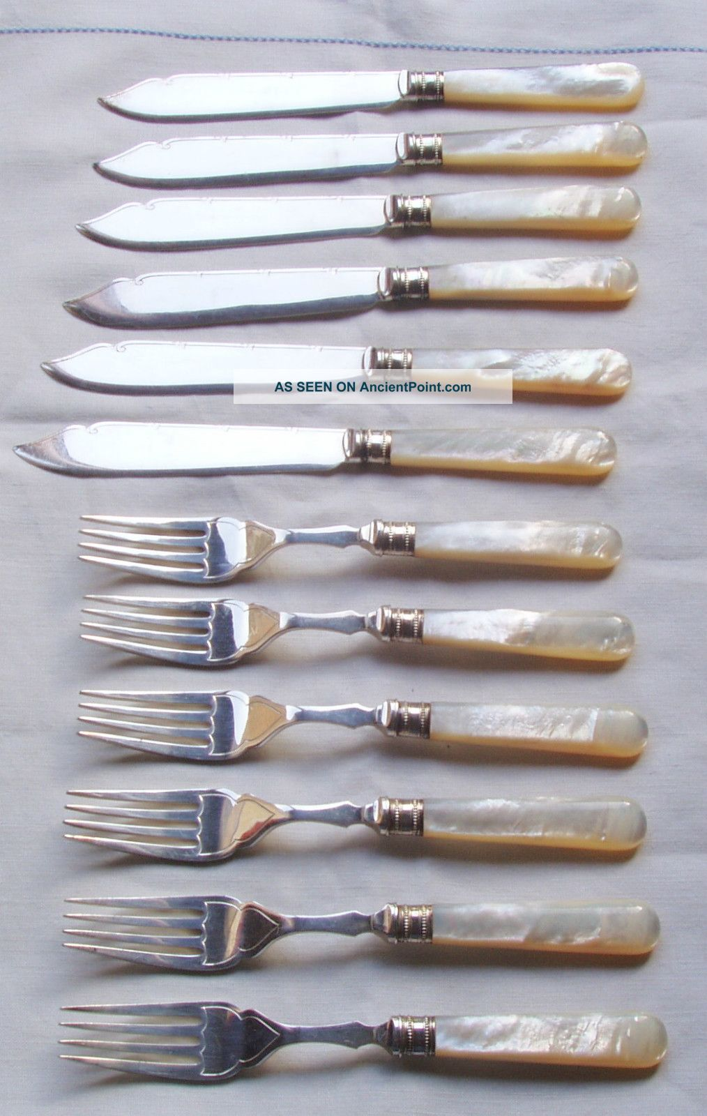 Vintage Ep Silver Plate & Mop,  6 Fish Forks & Knives,  Harrison Fisher & Co Other photo
