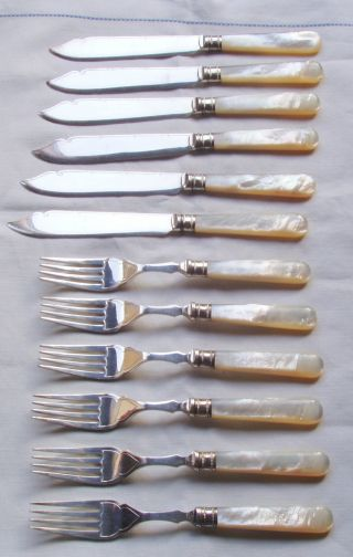 Vintage Ep Silver Plate & Mop,  6 Fish Forks & Knives,  Harrison Fisher & Co photo