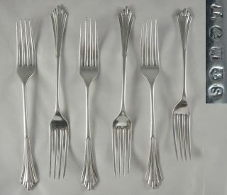 6 Quality Antique Victorian Lee Wigfull Silver Epns Albany Dinner Dessert Forks photo
