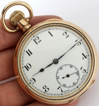 Rolled Gold Mens Open Faced Pocket Watch - Fully Working photo