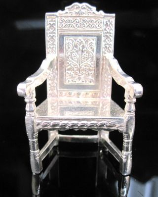 Miniature Solid Silver Chair By S J Rose & Sons.  Hallmarked Birmingham.  Mint photo