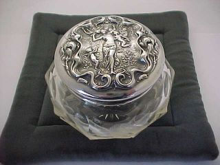 C 1903 Sterling Silver Vanity Dresser Powder Jar Figural Cupids Cherubs Wallace photo