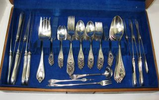 1847 Rogers Silver Old Colony Flatware Set For 10,  91 Pieces - W/ice Cream Forks photo