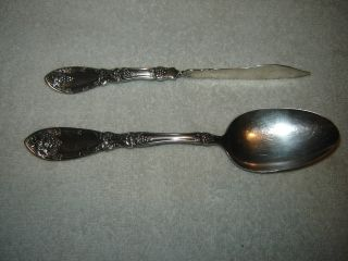 Rogers Silverplate Lavigne Master Butter Knife & Table / Serving Spoon photo