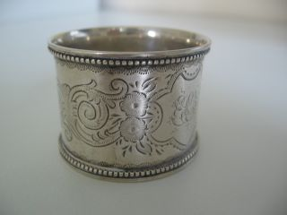 Top Quality English Sterling Silver Napkin Ring.  Victorian 1897.  Decorated photo