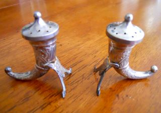 Sterling Silver Horn Shaped Salt & Pepper Shakers - Theodor Olsen Norway - N/r photo