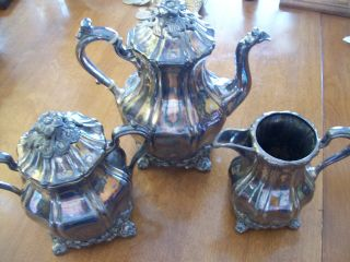 Vintage Footed Coffee Pot Creamer Covered Sugar Bowl Silver/copper Floral Tops photo