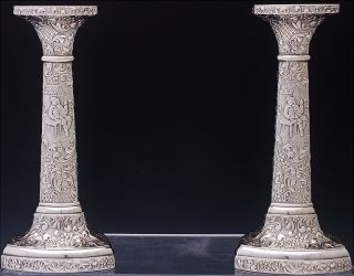 Amazng Antique American Repousse Figural Scenic Tall Candlesticks Candle Holders photo