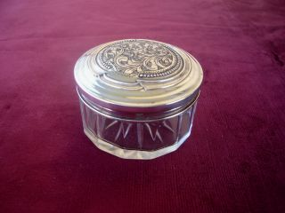 Old Hallmarked Solid Silver Topped Glass Snuff Box / Trinket Box photo