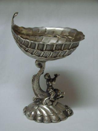 Scarce German Silver Compote Open Salt Cellar Dish Dolphin & Shell 1900 photo