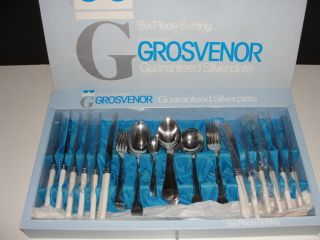 Grosvenor Old English Pattern Silverplate 44pc 6 Place Setting Cutlery Set photo