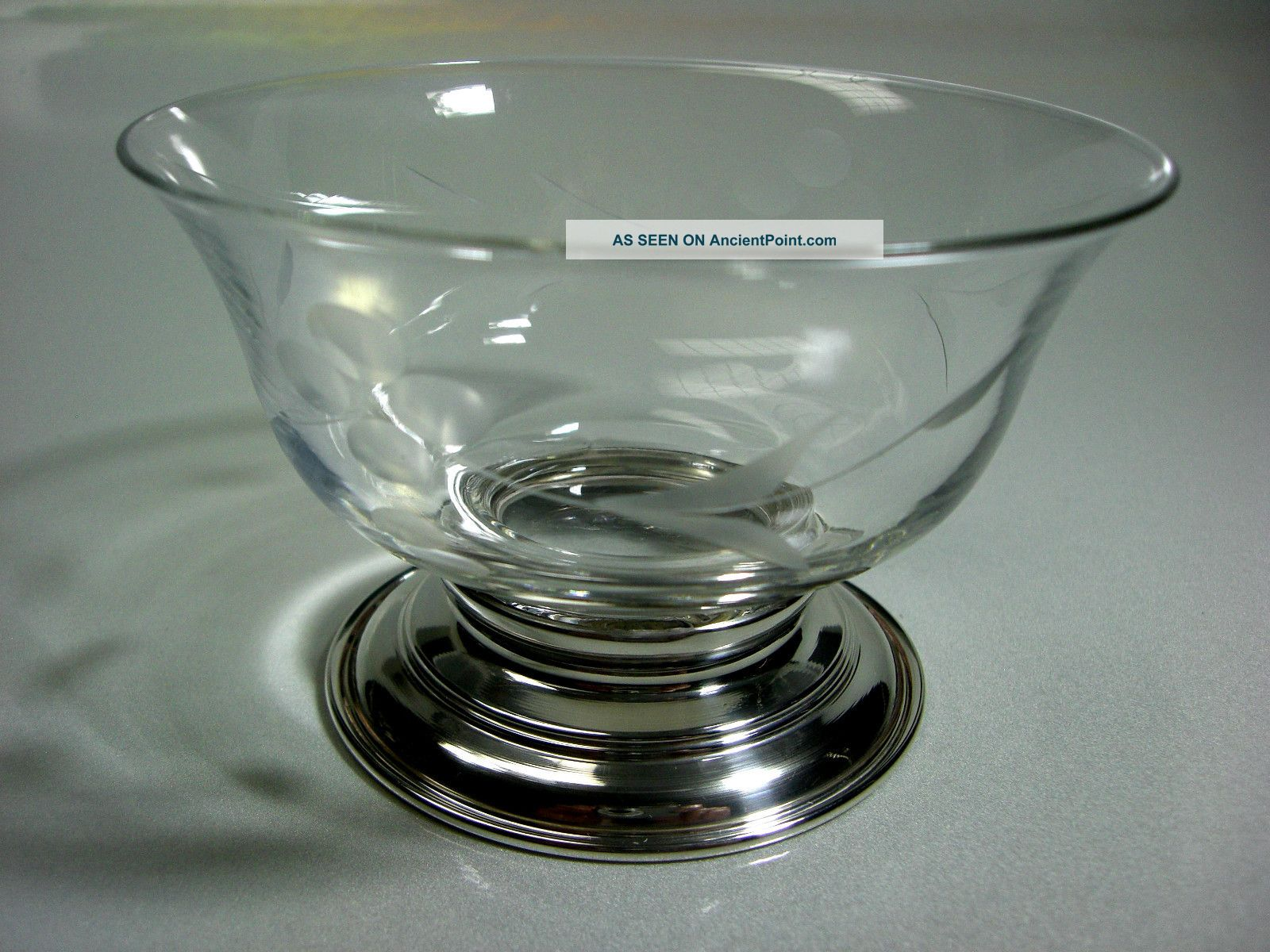 Vintage Handblown Etched Crystal Candy Dish Sterling Silver Base Bowls photo