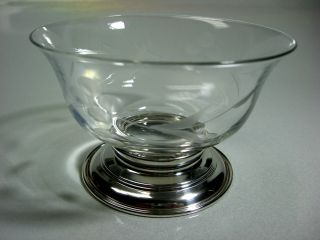 Vintage Handblown Etched Crystal Candy Dish Sterling Silver Base photo