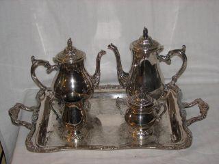W M Rogers Silver Plate Tea & Coffee Set Creamer Sugar & Tray 290 Eagle Star photo