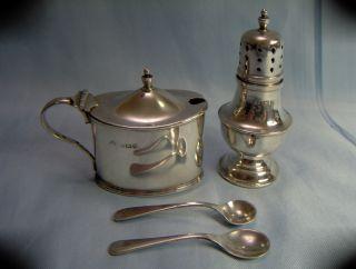 Beautifull Solid Silver 4 Piece Cruet Set Mustard Pot/ Shaker / Spoons Birm 1925 photo
