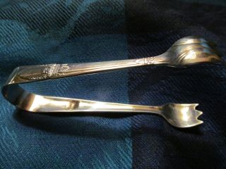 Rare 1847 Rogers Silver Plate First Love Pattern Sugar Tongs photo