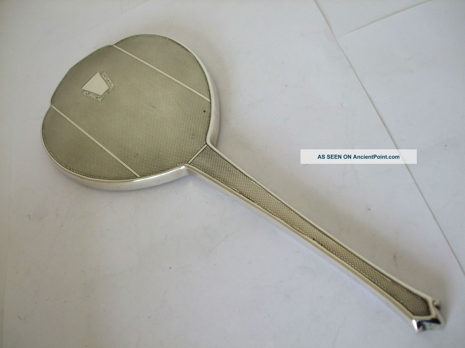Vintage Silver Hand Mirror Engined Turned Art Deco Stepped Design Hm 1962 Mirrors photo