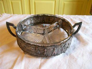 Antique Silverplate & Glass Insert Relish/nut Dish High Relief Dutch Children photo
