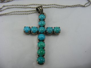 Antique Solid Sterling Silver Turquoise Gem Set Cross Pendant Religious Prayer photo