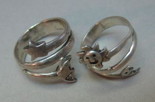 2 Vintage Sterling Silver Ring Lot Moon Sun Star Wear Or Sell photo
