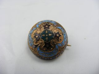 Antique Victorian Round Enamel Coin ? Pin Brooch Rose Gold Colour photo