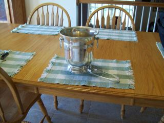 Silverplate Wine Cooler With Tongs photo