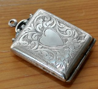 Antique Edwardian Silver Chatelaine Stamp Case Holder Hallmarked Bham 1909 photo