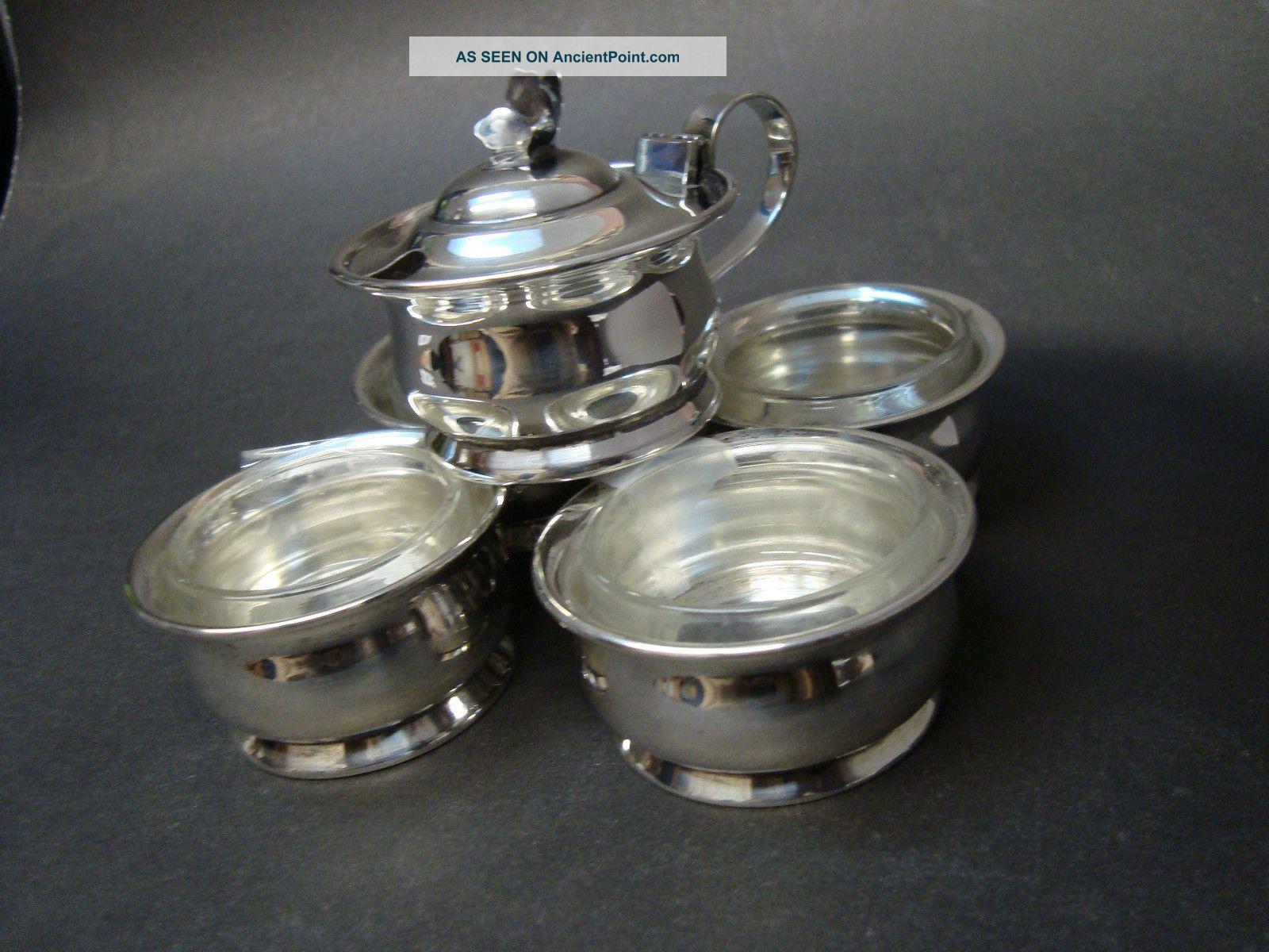 International Sterling Silver Co.  925 Silver Mustard Pot W Four Open Salts Mustard Pots photo
