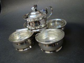 International Sterling Silver Co.  925 Silver Mustard Pot W Four Open Salts photo