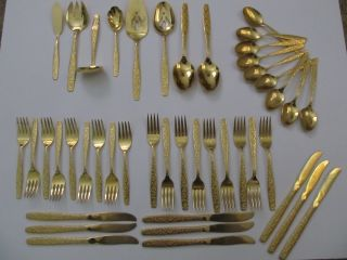 American Golden Heritage Flatware Set Consisting Of 44 Pcs.  Gold Plated photo