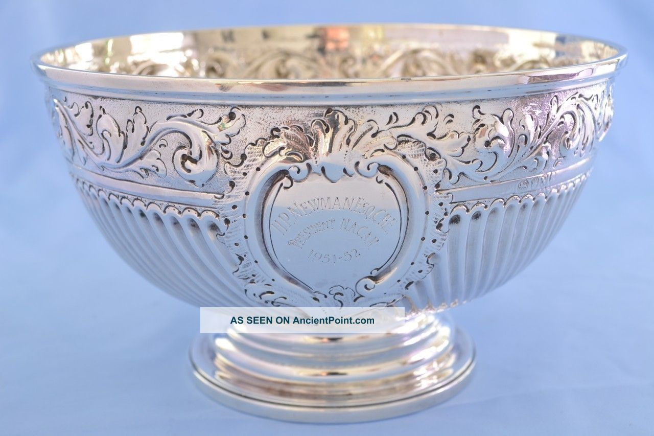 Antique George Iii Solid Silver Large Presentation Rose Bowl 1808 507g Bowls photo