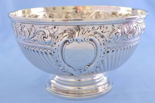 Antique George Iii Solid Silver Large Presentation Rose Bowl 1808 507g photo
