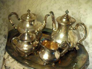 Orate Reed & Barton Silver Plated Tea Set Regent 5600 Pln.  Halloware Pattern photo