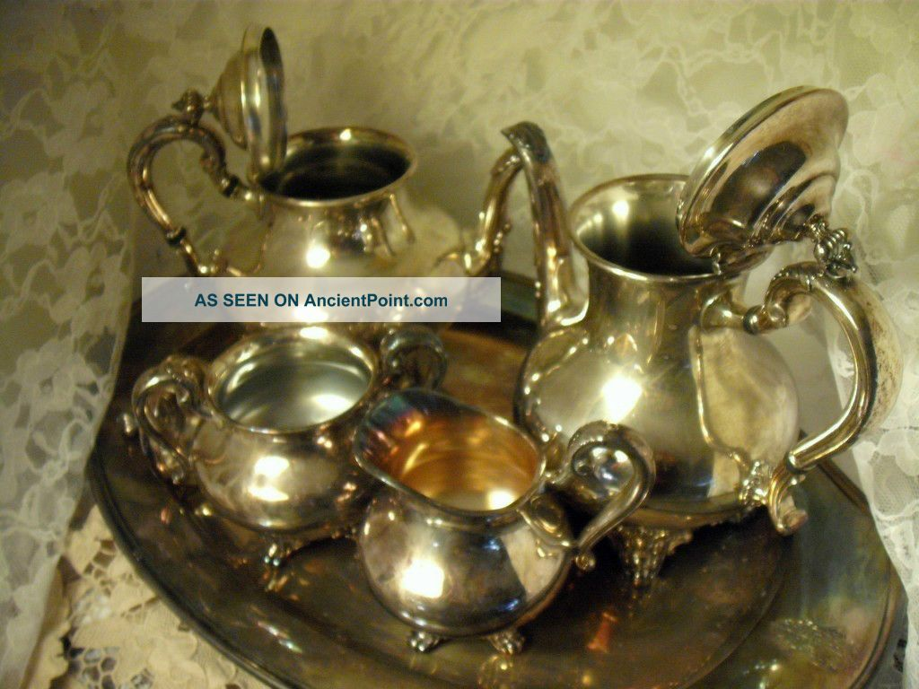 Orate Reed & Barton Silver Plated Tea Set Regent 5600 Pln. Halloware ...