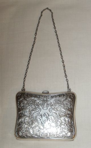 Antique Sterling Silver Dance Card Coin Opera Purse photo