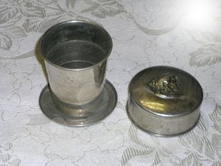 Antique Nickel Silver Collapsible Traveling Drinking Cup Embossed Head Lid photo