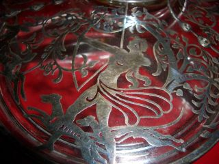 Art Deco Sterling Silver Overlay Candy Dish. . .  Signed. . . photo