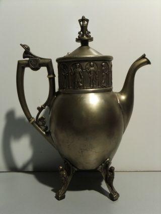 Antique Reed & Barton Coffee Pot,  Silver Plate,  Classical Figures & Birds 2660 5 photo